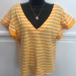 A New Day Yellow & White Striped V-neck T-shirt L